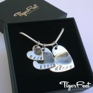 Triple Fingerprint Heart Necklace