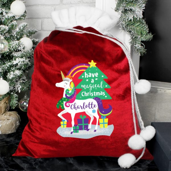 Unicorn pom pom gift sack