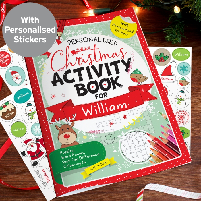 Christmas Eve Activities.Personalised Christmas Activity Book Stickers Tiger Feet