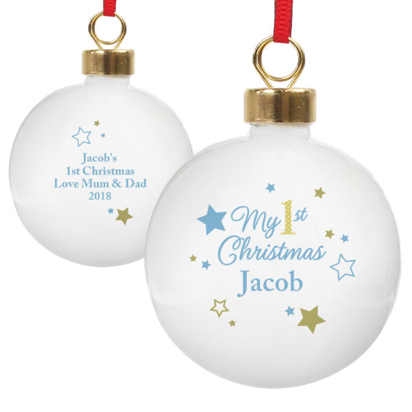 Blue & Gold Stars My 1st Christmas Bauble
