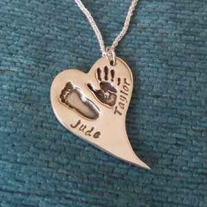 Curved Heart Hand & Footprint Necklace
