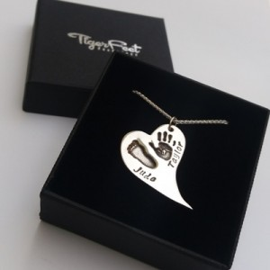 Curved Heart Hand & Footprint Necklace - Gift Boxed