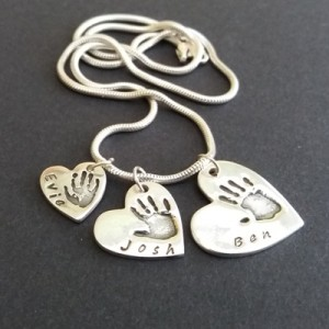 Triple Heart Handprint Necklace