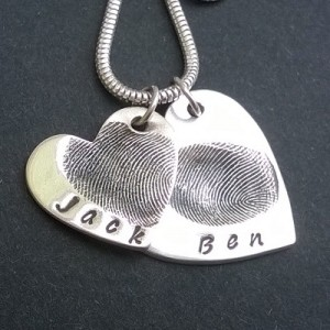 Double Heart Fingerprint Necklace