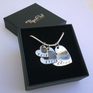 Triple Heart Fingerprint Necklace - Gift Boxed